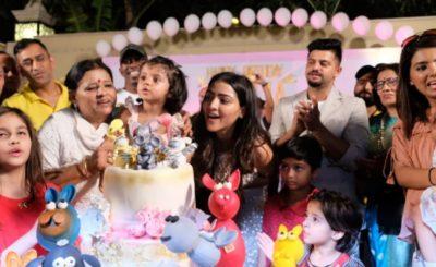 MS Dhoni Enjoy the birthday party of Suresh Raina daughter Gracia