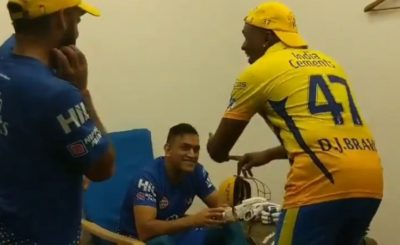 MS Dhoni Enjoys As DJ Bravo Pays A Special Dance Tribute